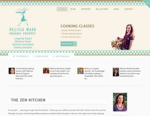 Melissa Ward Organic Gourmet website