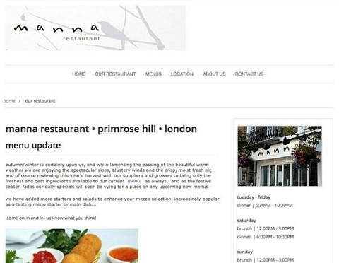 Manna restaurant website