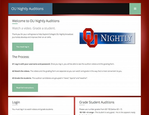 Oklahoma University Auditions website